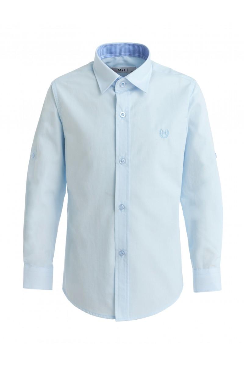 Приталенная рубашка нежно-голубого цвета