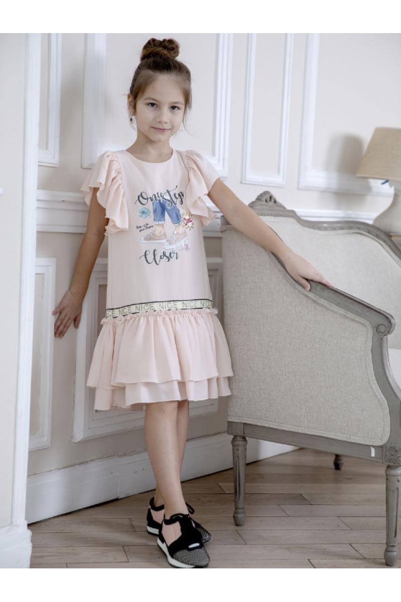 Нежное платье для девочки персиковое
