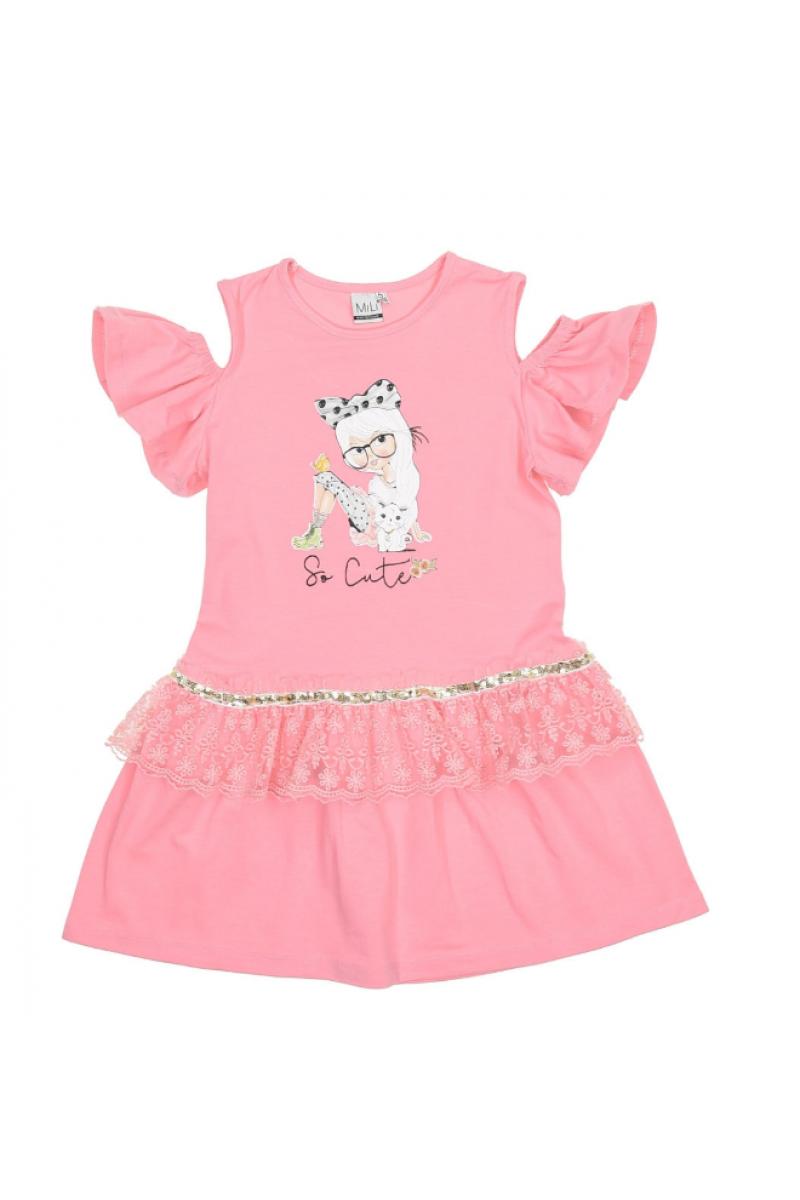 Платье с вырезом в плечах розовое