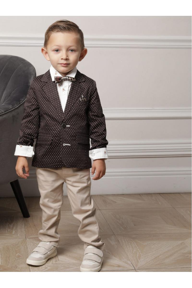 Костюм для мальчика с узором в горошек коричневый