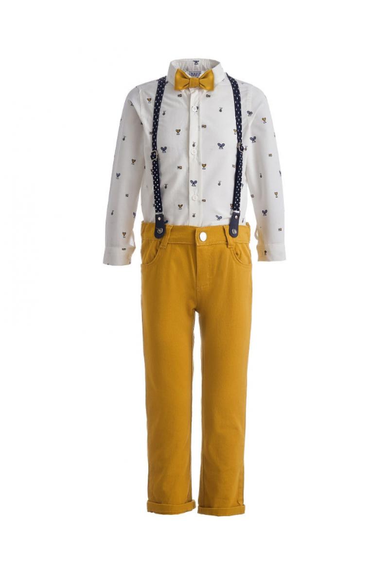 Костюм для мальчика с рисунком в виде кубиков, сине-желтый