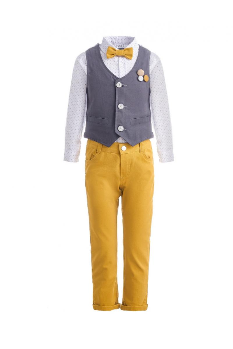 Костюм для мальчика в комплекте с бабочкой  желтый