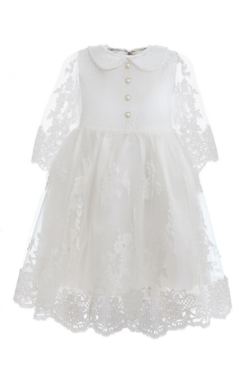 Платье нарядное с укороченным рукавом кремовое