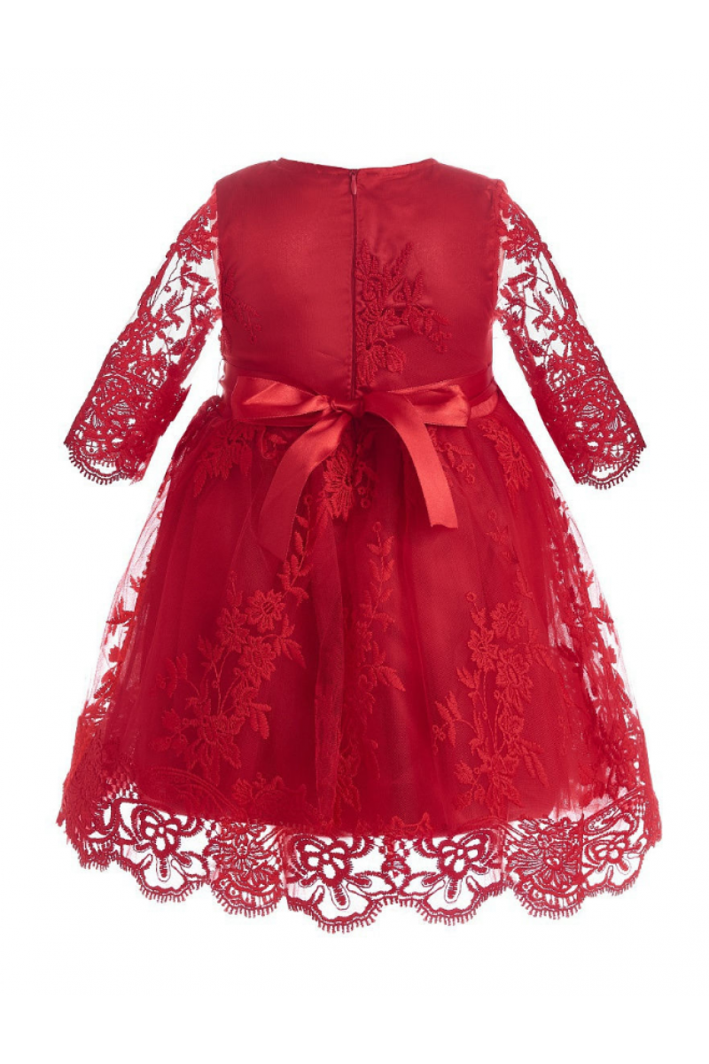 Платье с коротким рукавом красное