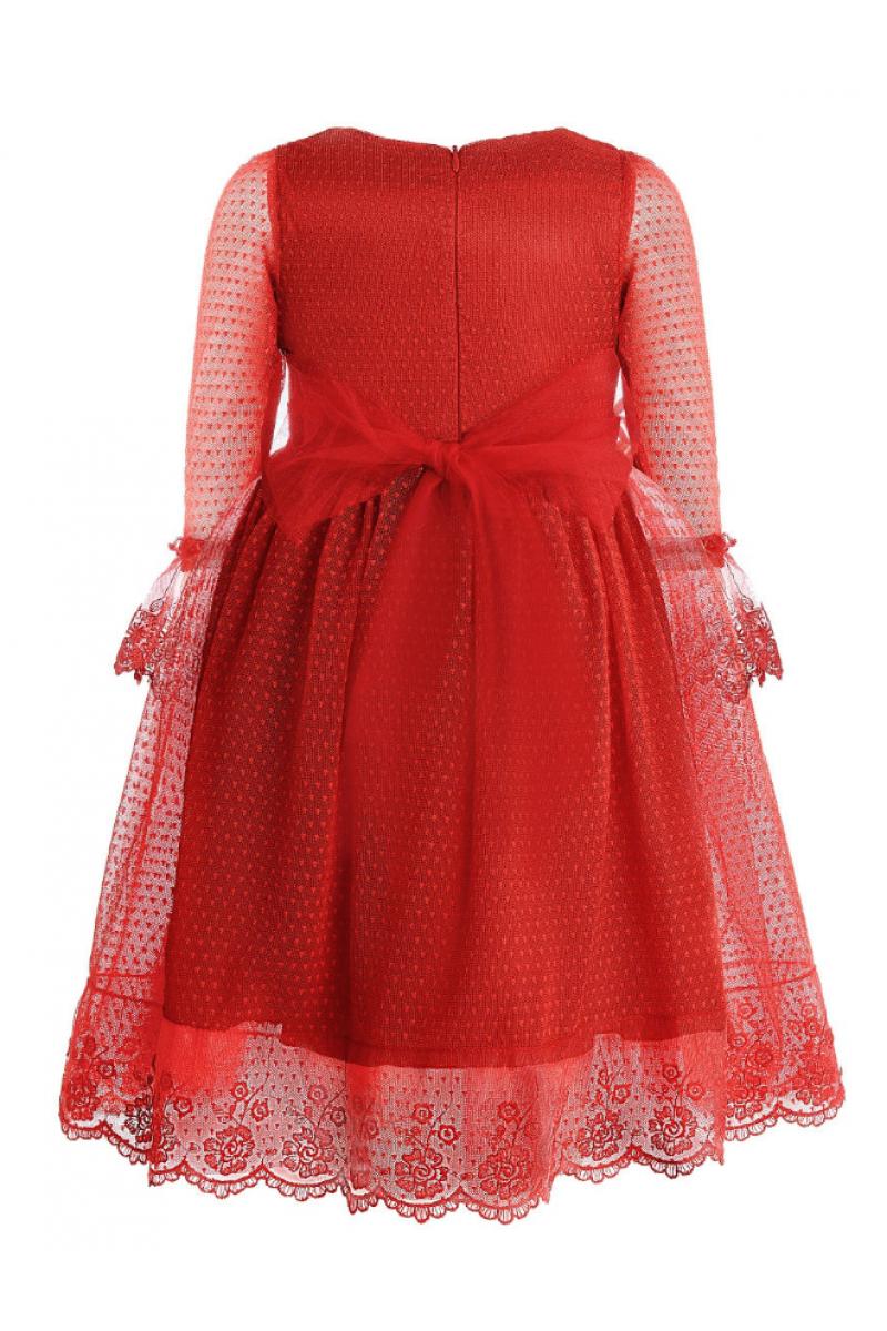 Платье нарядное красное с брошью