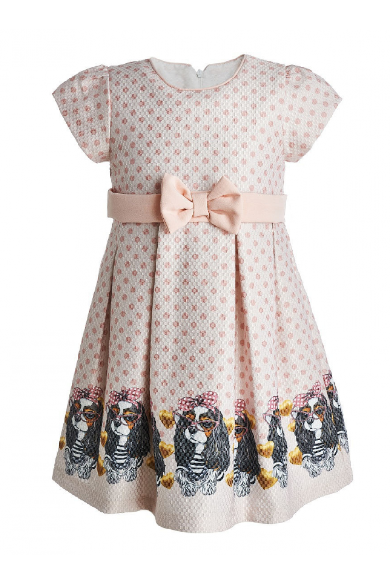 "Прелестное платье с рисунком ""собачки"" бежевое"