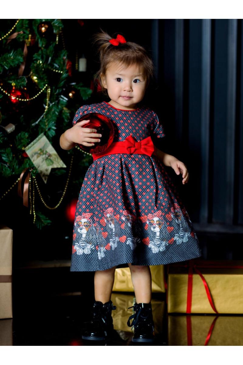 """Прелестное платье с рисунком """"собачки"""" красное"""