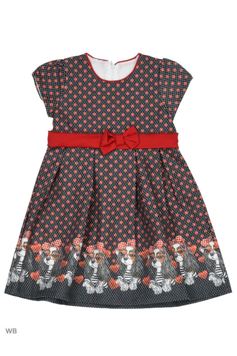 """Прелестное платье с рисунком """"собачки"""" темно-серое"""