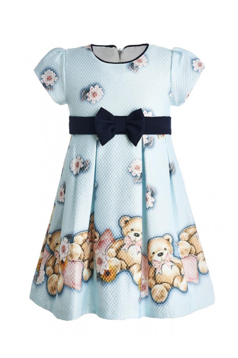 Очень красивое платье с маленькими мишками голубое