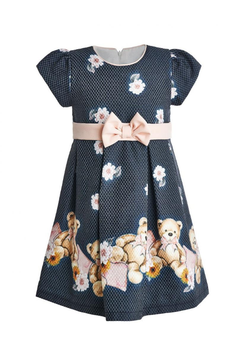 Очень красивое платье с маленькими мишками темно-серое