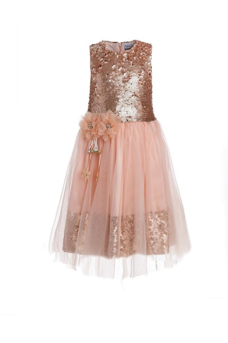 Прелестное розовое платье в пайетках