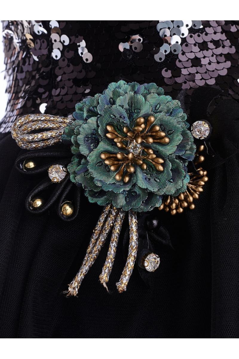 Современное модное платье черное