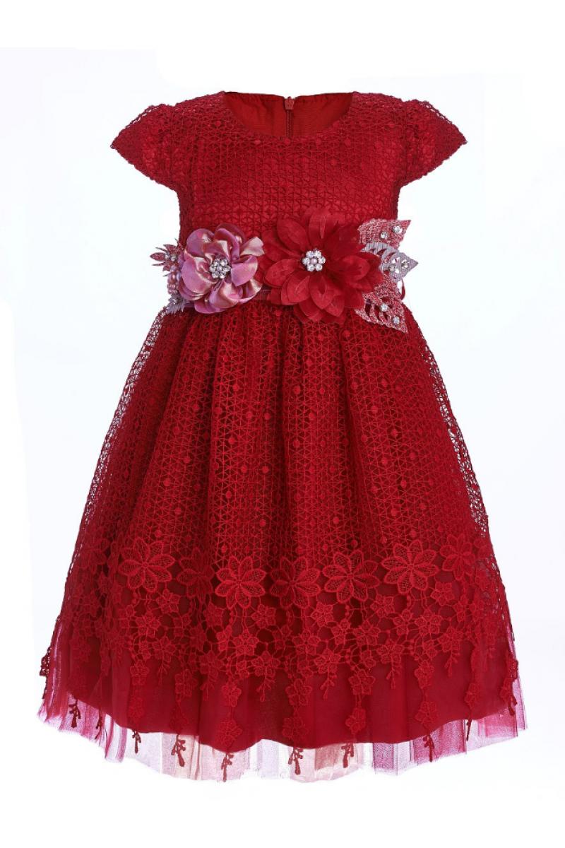 Платье для девочки с брошью-цветами красное