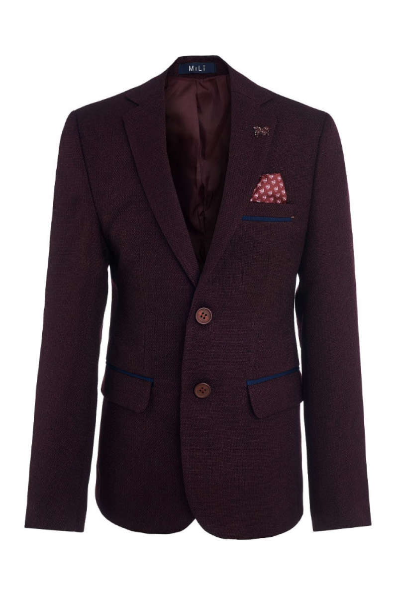 Пиджак для мальчика в комплекте с платком, бордовый