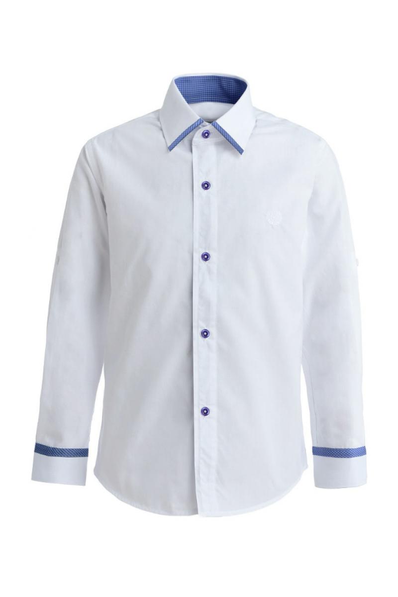 Однотонная рубашка со вставкой цвет белый