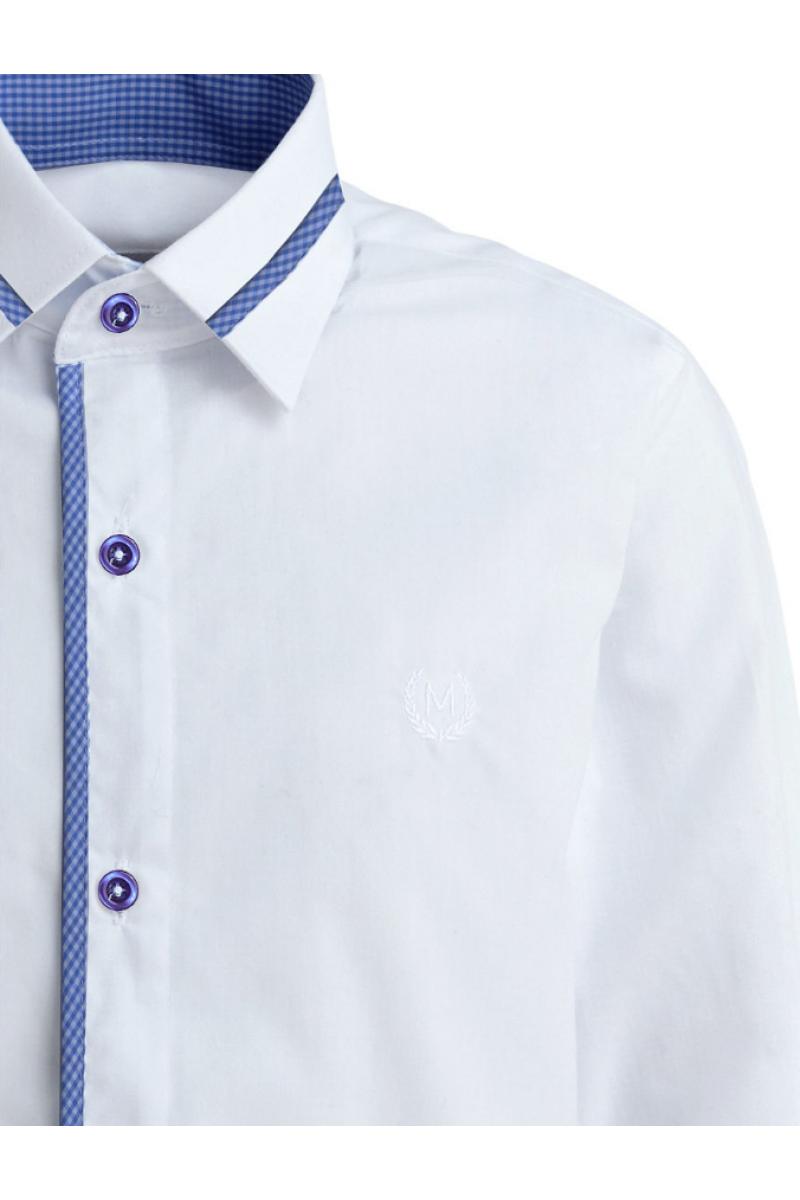 Однотонная рубашка со вставкой белого цвета