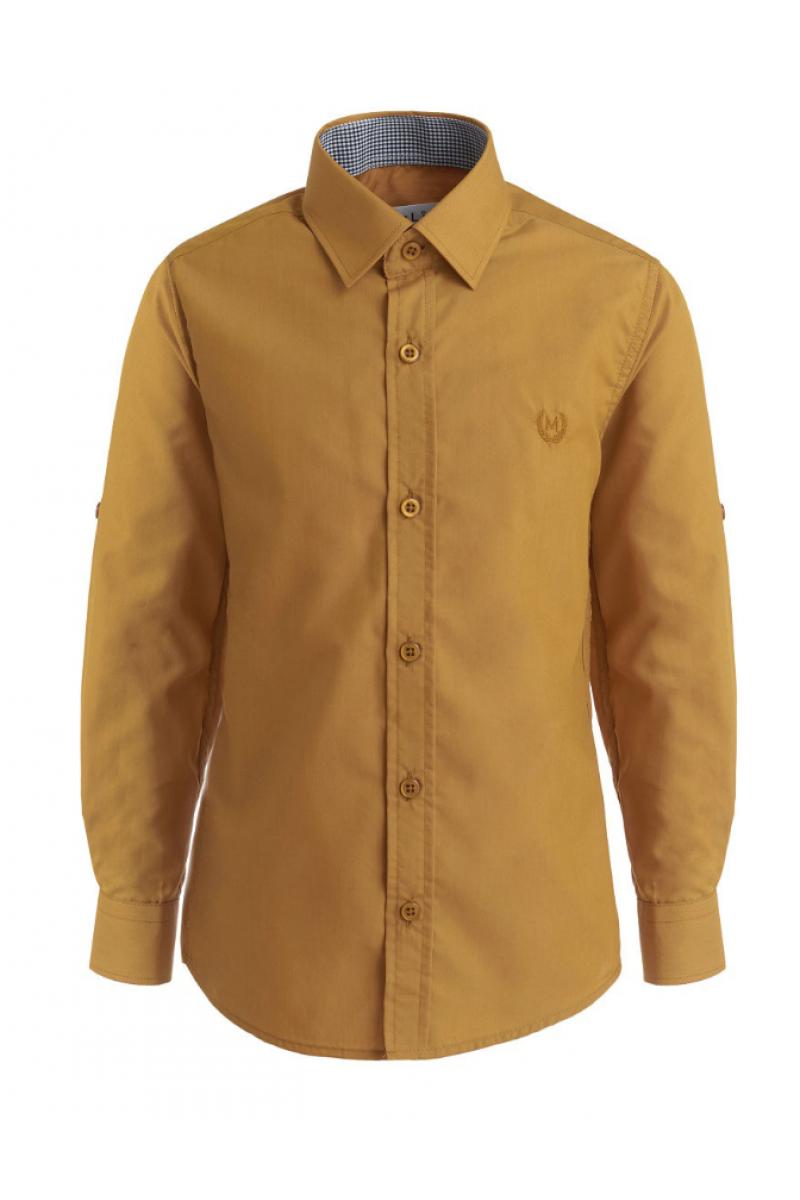 Рубашка однотонная с вышивкой, горчичная