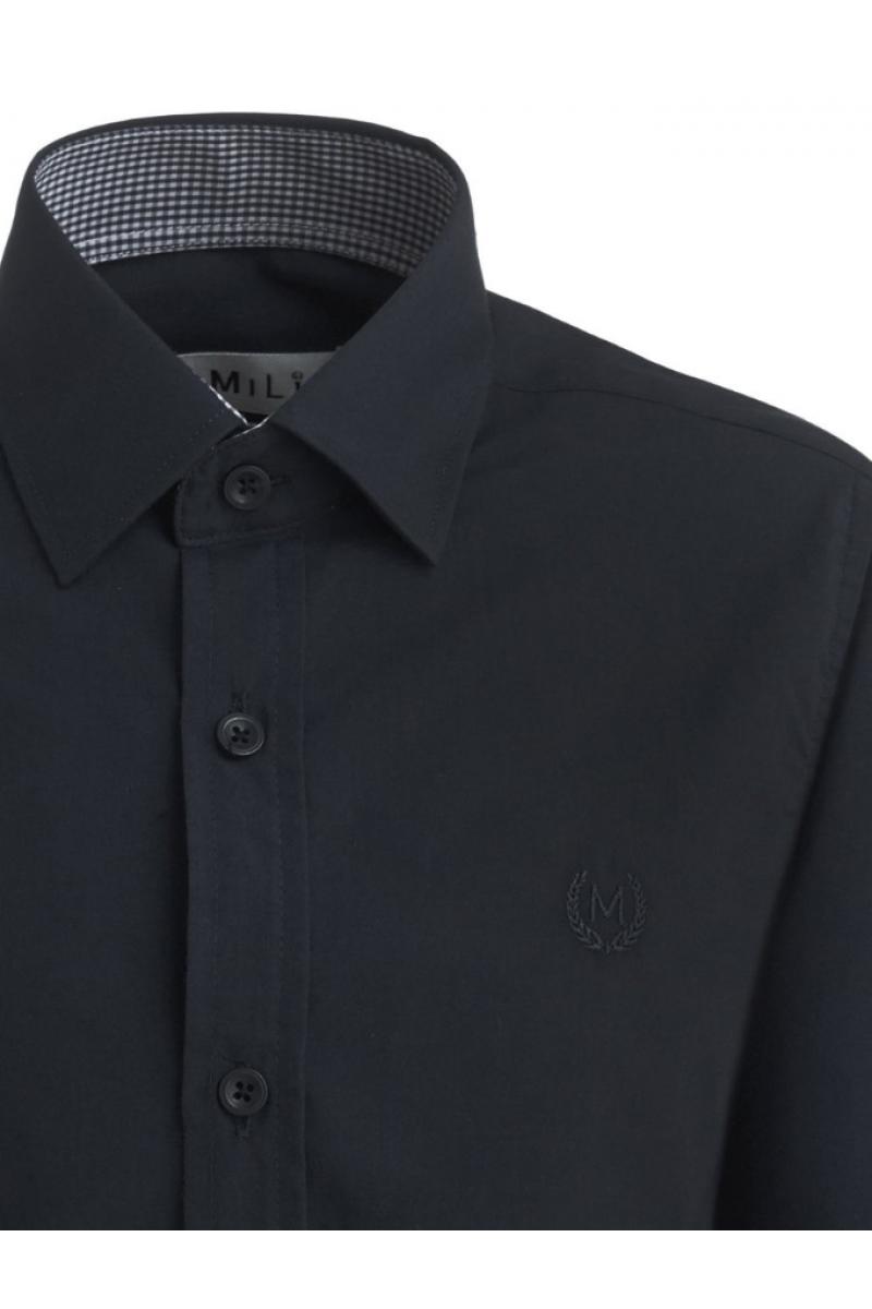 Рубашка однотонная с вышивкой, черная