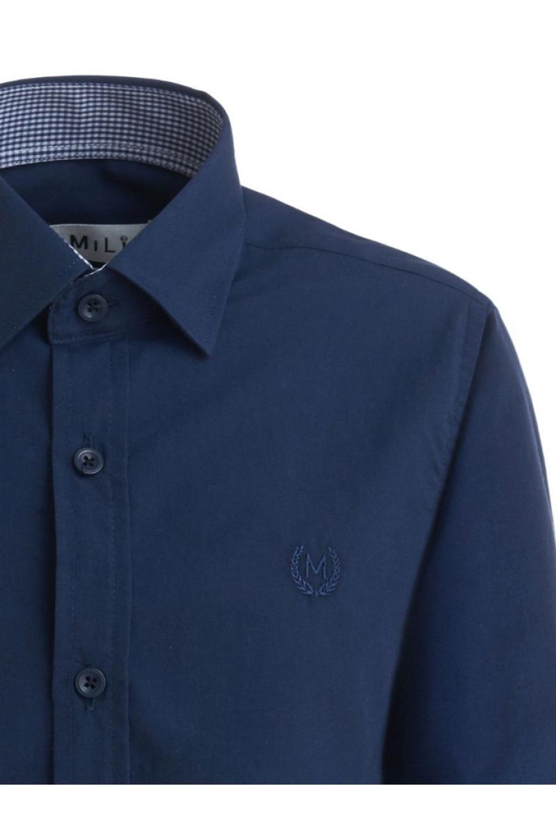 Рубашка однотонная с вышивкой темно-синяя