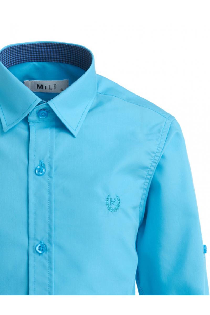 Рубашка однотонная с вышивкой, бирюзовая