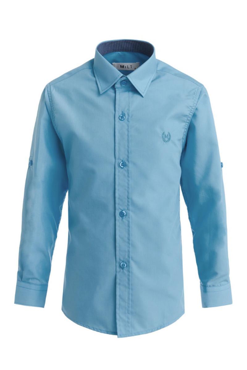 Рубашка однотонная, бирюзовая