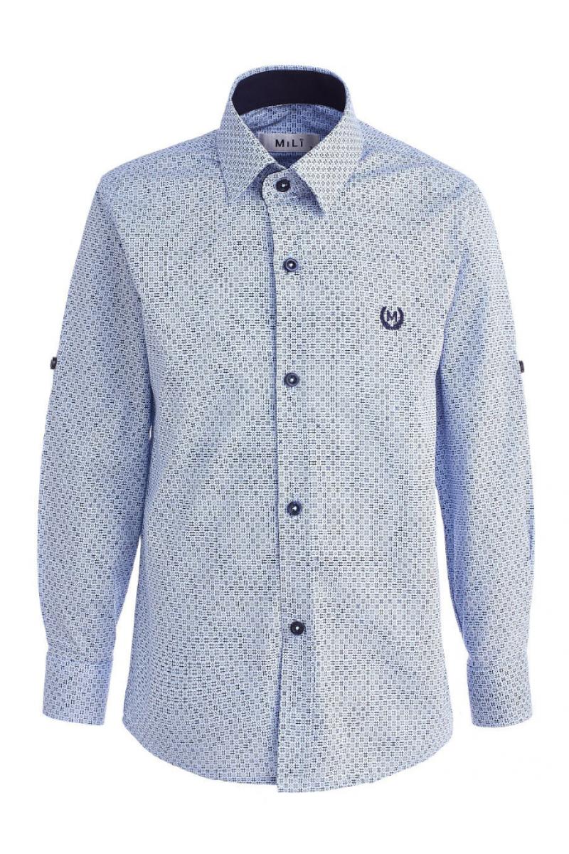 Рубашка с решеточками голубая