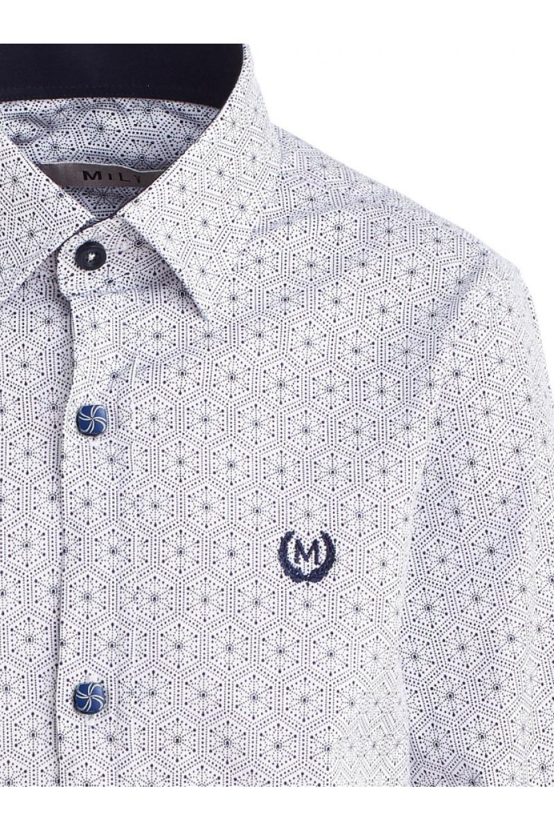 Рубашка для мальчика на пуговицах со снежным рисунком