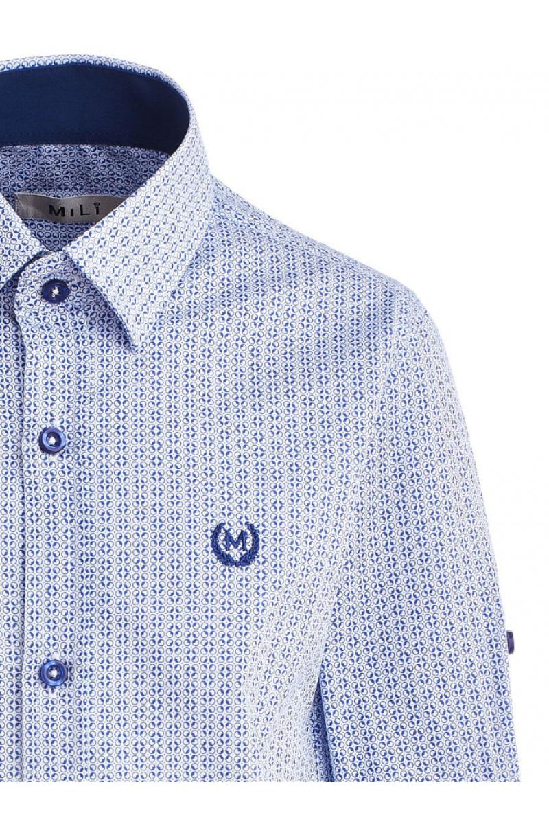 Рубашка в кружок  голубая