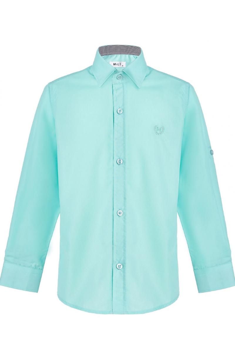 Рубашка однотонная бирюзовая