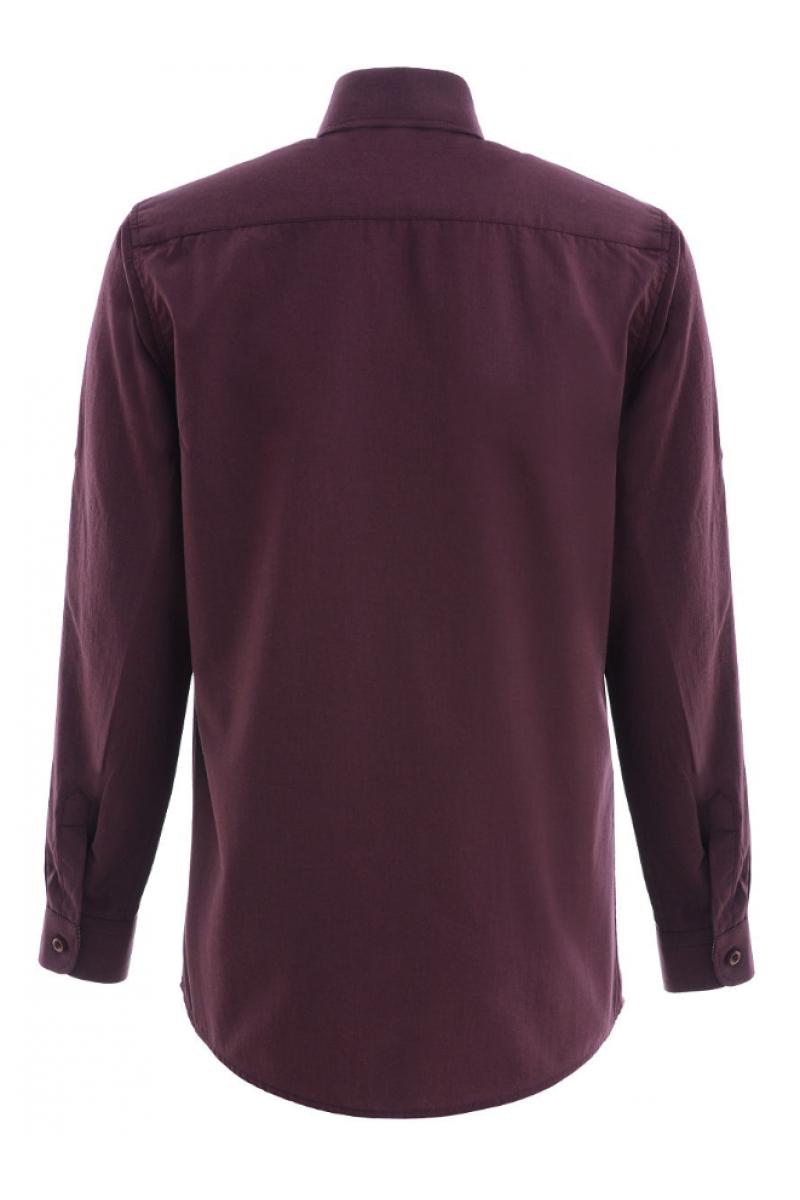 Рубашка однотонная бордовая