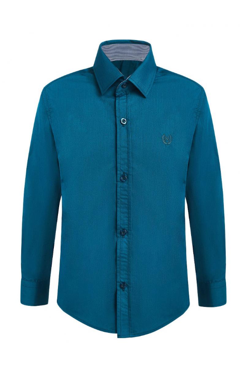 Рубашка однотонная сине-зеленая