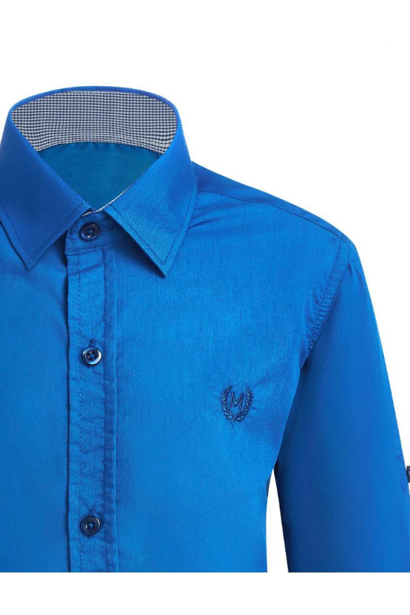 Рубашка однотонная, ярко-синяя