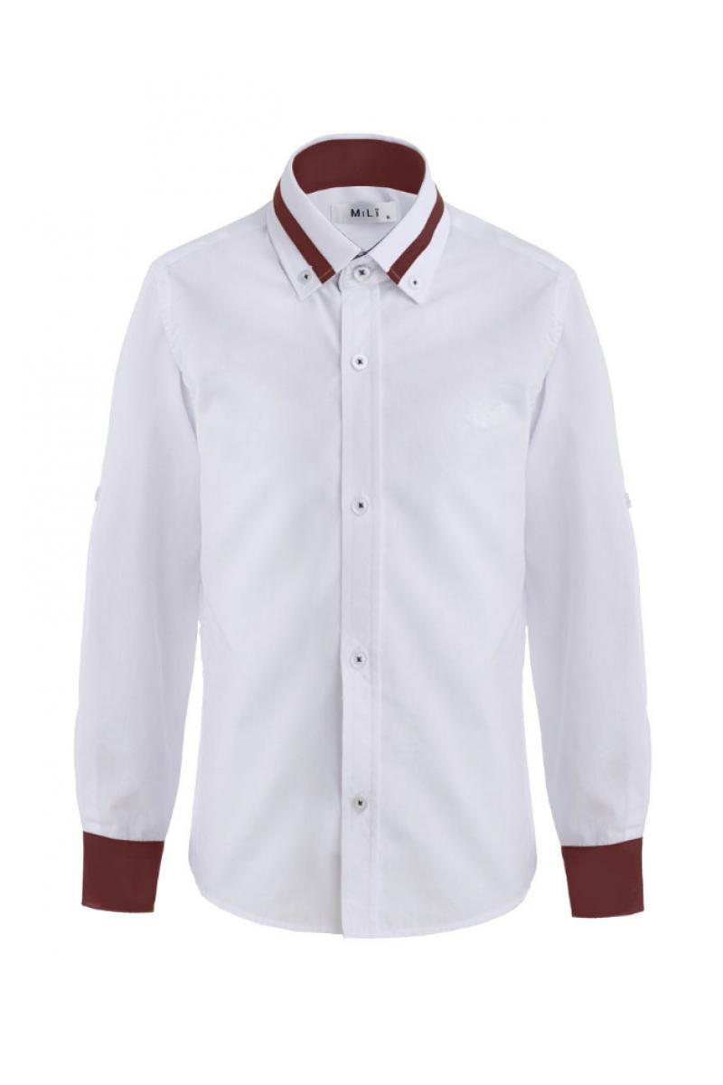 Рубашка для мальчика цветным манжетом бело-бордовое