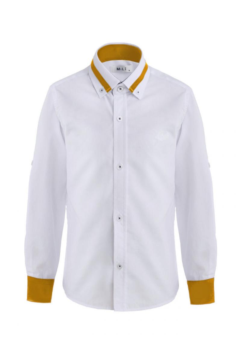 Рубашка для мальчика цветным манжетом бело-горчичный
