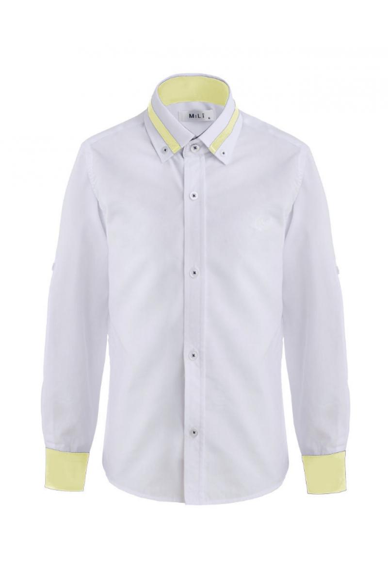 Рубашка для мальчика цветным манжетом бело-желтая