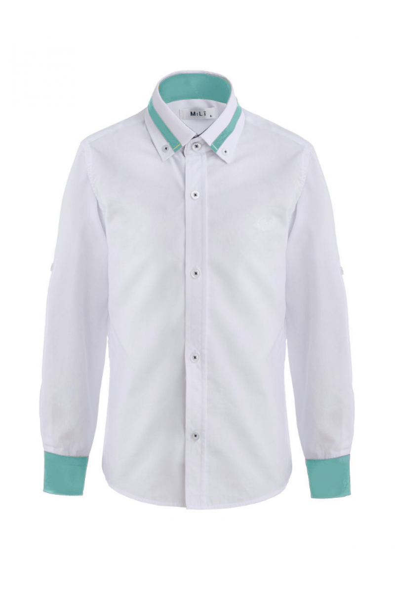 Рубашка для мальчика цветным манжетом бело-зеленая