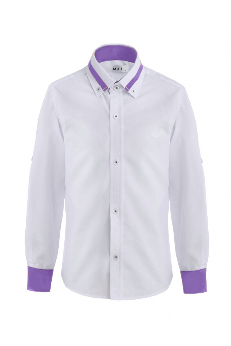 Рубашка для мальчика цветным манжетом