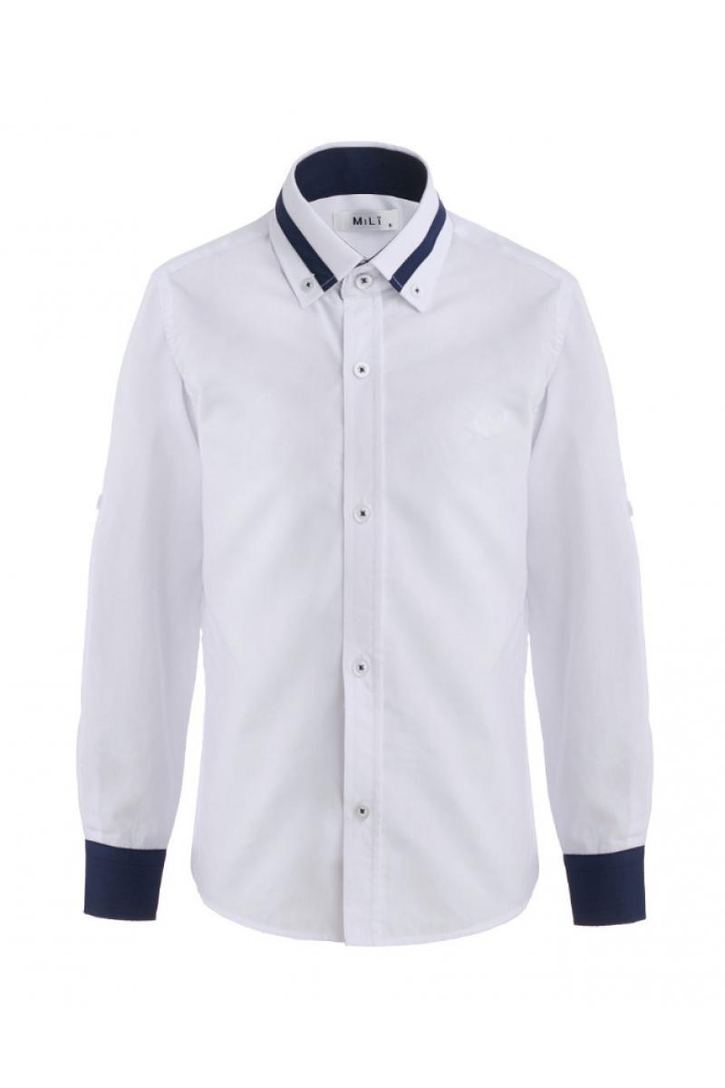 Рубашка для мальчика цветным манжетом белого цвета