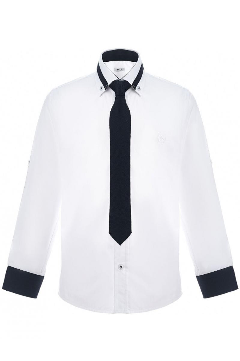 Рубашка для мальчика с цветным манжетом, белая