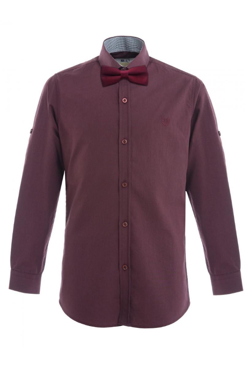 Рубашка с бабочкой бордовая
