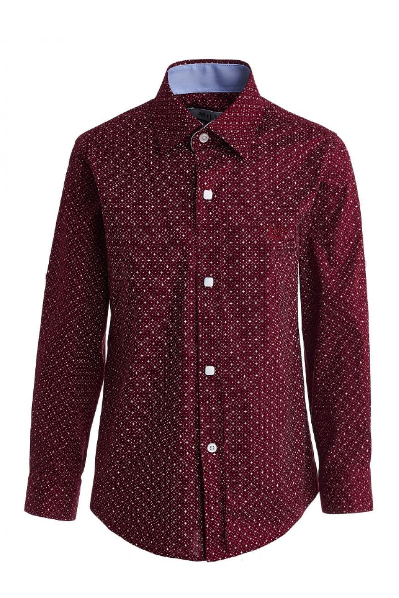 Рубашка бордового цвета с рисунком в горошек