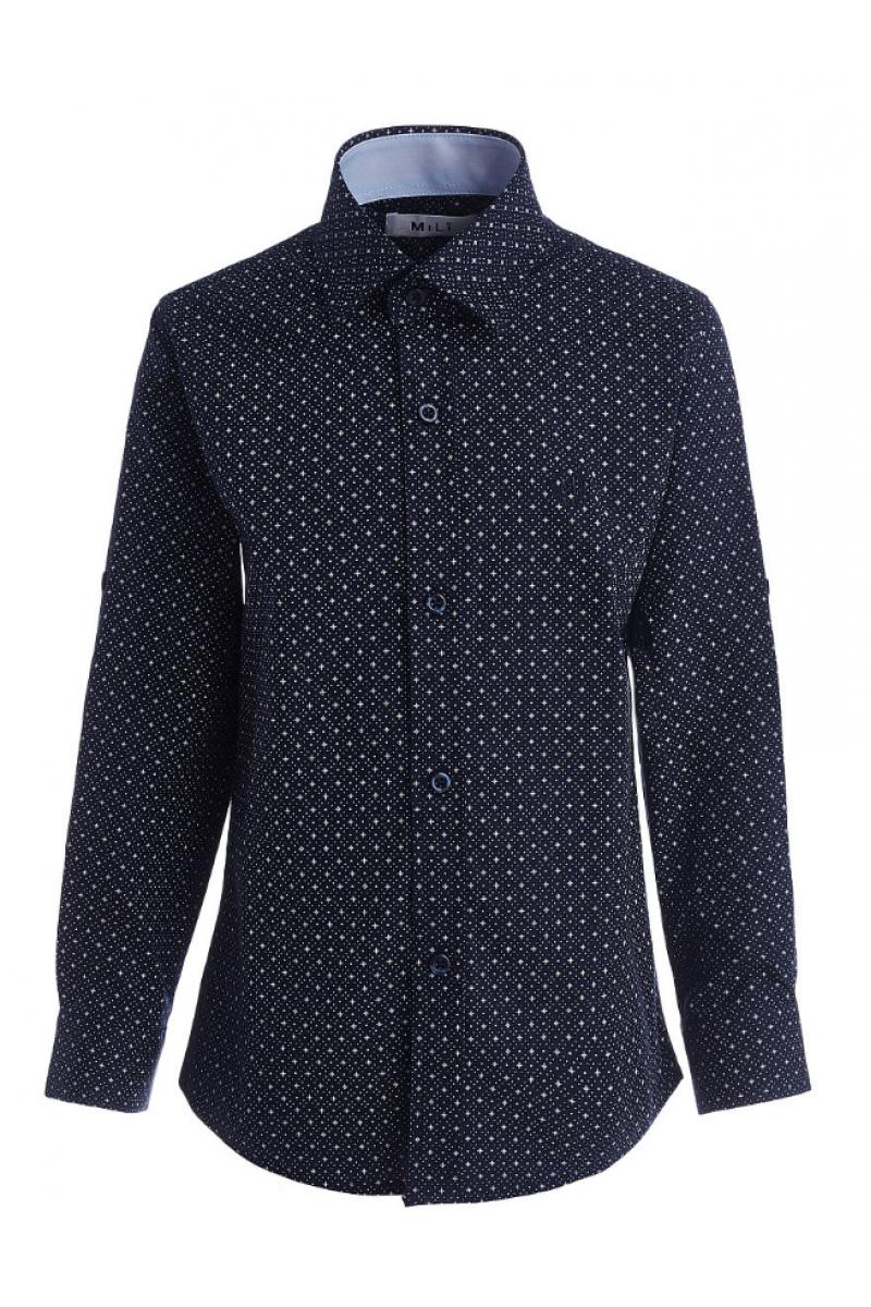 Рубашка для мальчика в горошек темно синяя
