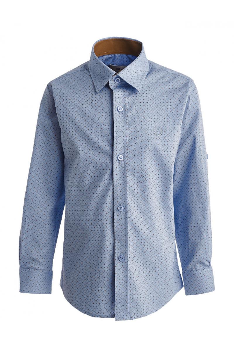 Рубашка для мальчика на пуговицах в горошек голубая