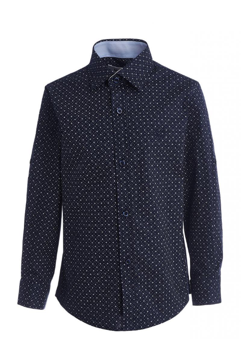 Рубашка для мальчика на пуговицах в горошек темно-синяя