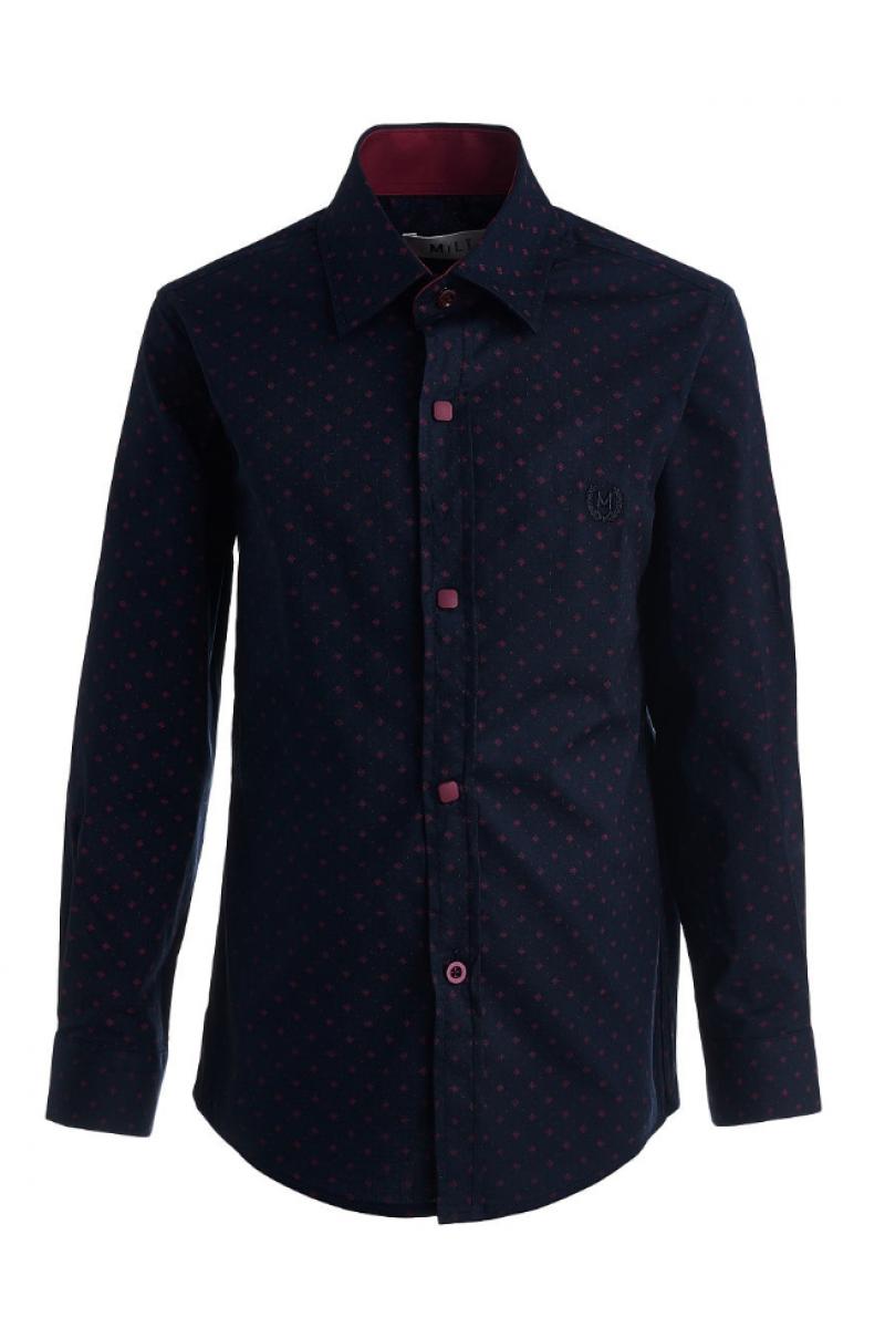 Рубашка с изображением цветочков темно-синяя