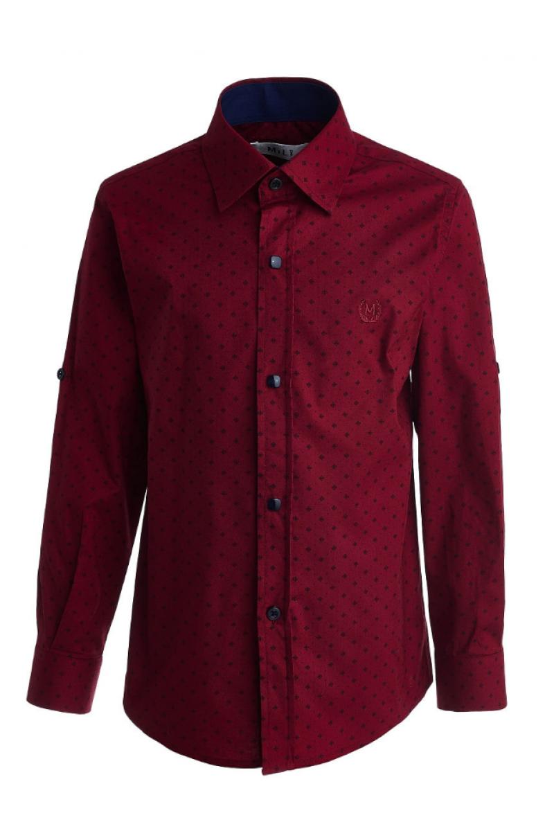 Рубашка с изображением цветочков бордовая