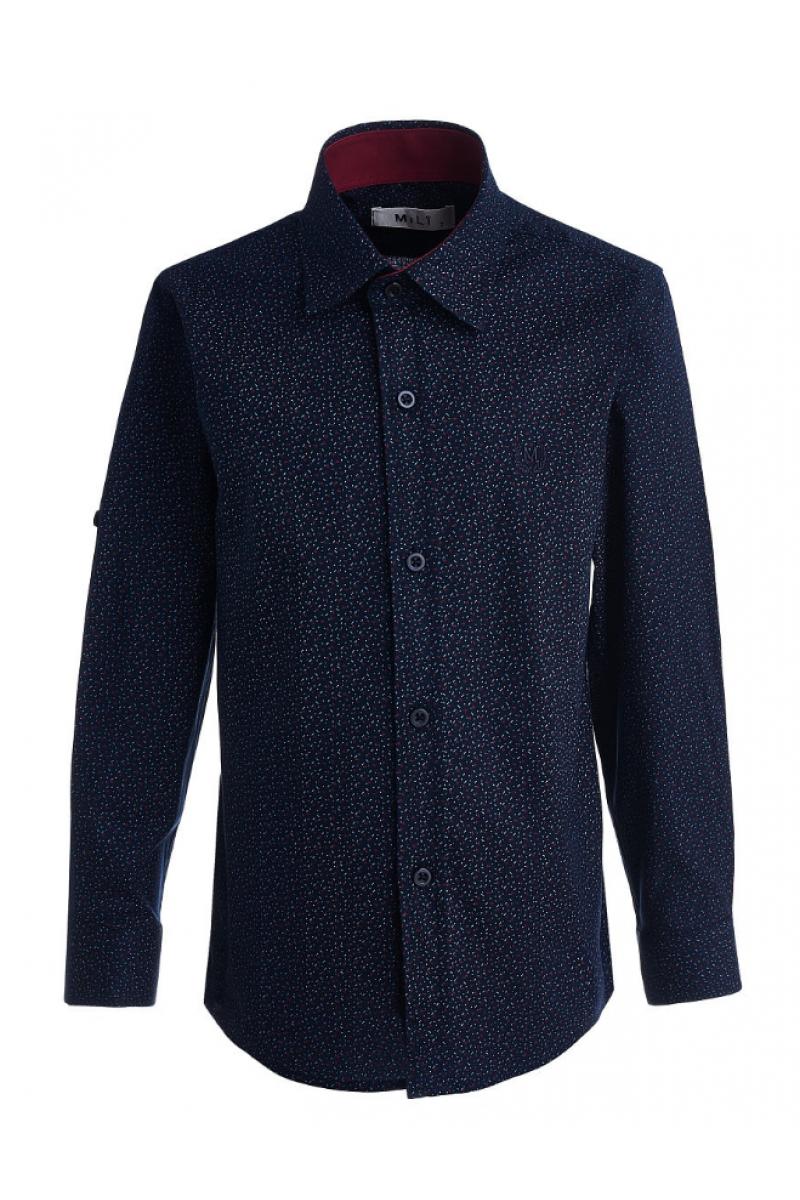 Рубашка с изображением маленьких галочек темно-синяя