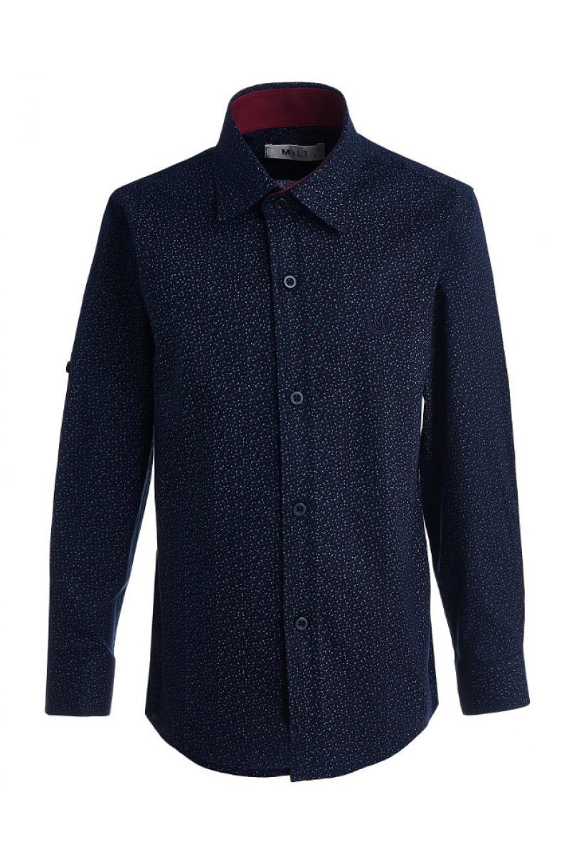 Рубашка с изображением маленьких галочек темно-синего цвета