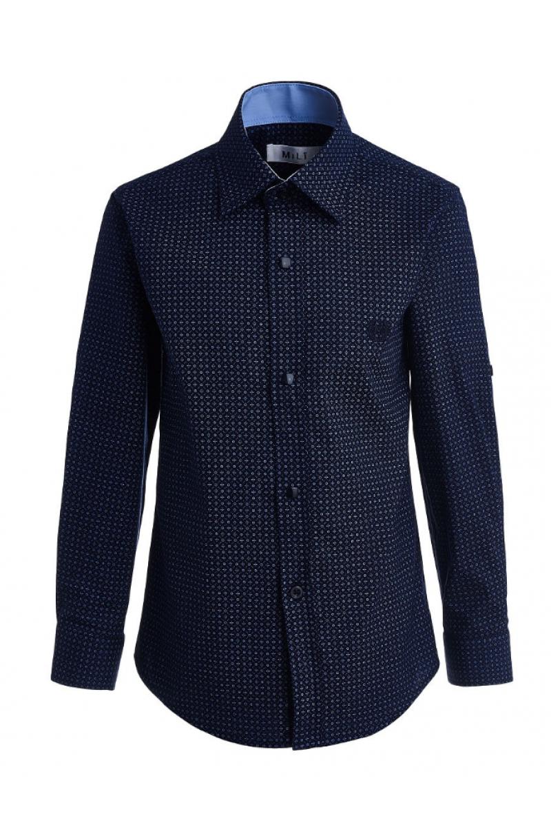 Рубашка узорчатая для мальчика синяя