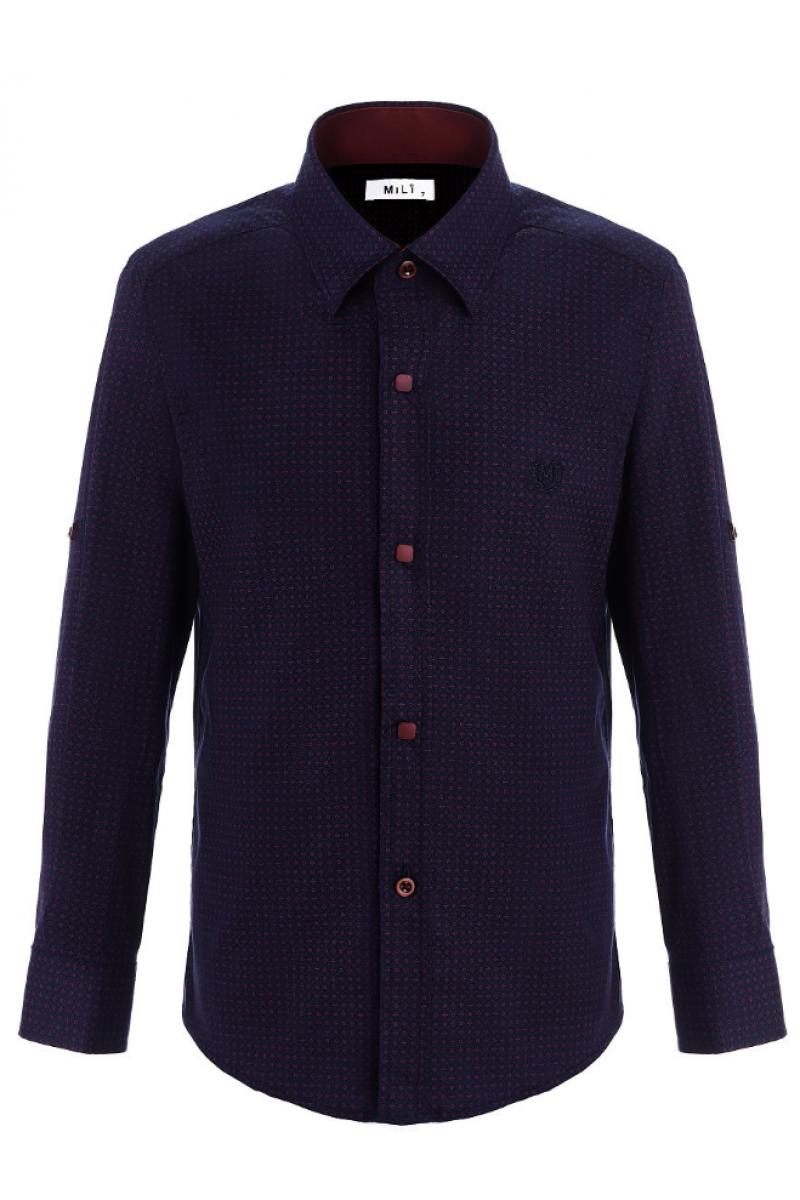 Рубашка узорчатая для мальчика темно-синяя